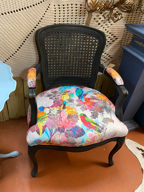 TEXAS TRAILS: Colorful Cain Back Vintage Chair. Painted flat black. Uphols