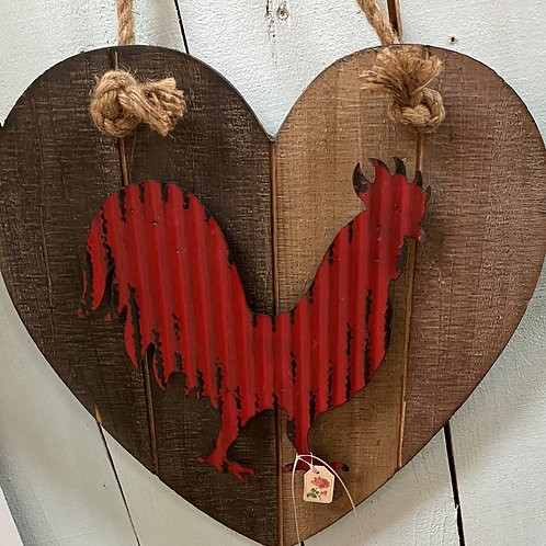 TEXAS TRAILS: Red Tin Rooster on Heart Board. Rope hanger.