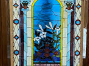 """TEXAS TRAILS: Beautiful Vintage Stained Glass 36"""" x 60"""". Framed."""