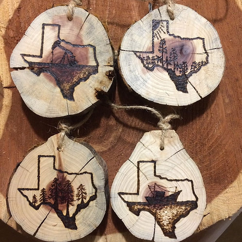 OUT IN THE STICKS: Custom wood-burned Ornament
