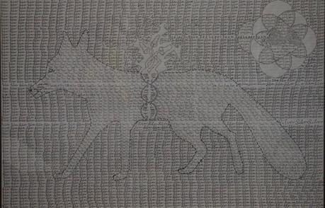 Laser-eyed Cat Activates The Magic Of The Mushrooms Tinte auf Papier/Ink on paper 70cmx100cm