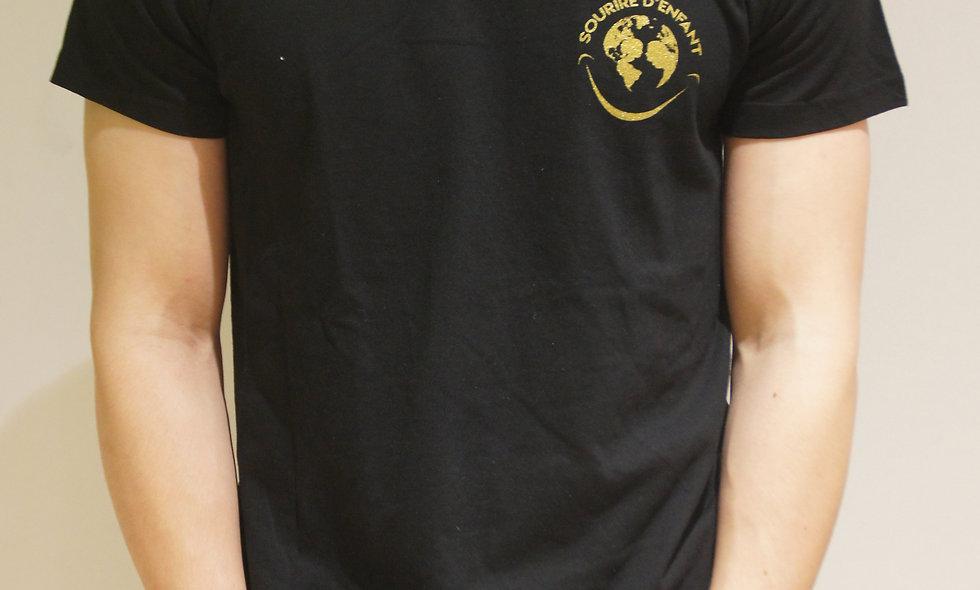 T-shirt Sourire d'enfant Noir - Logo Gold