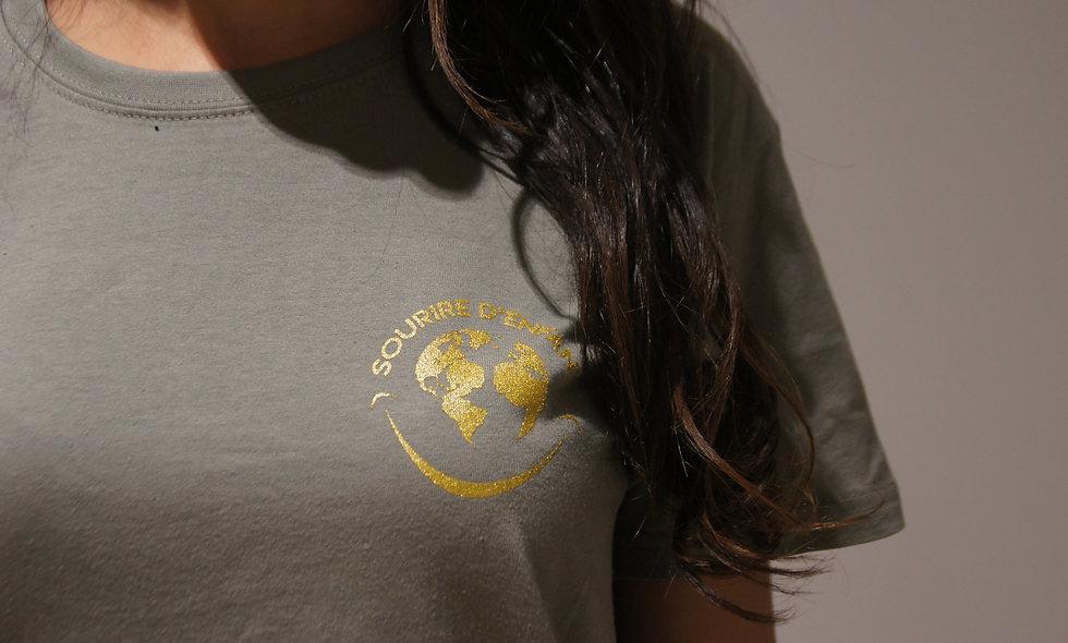 T-shirt Sourire d'enfant Kaki - Logo Gold