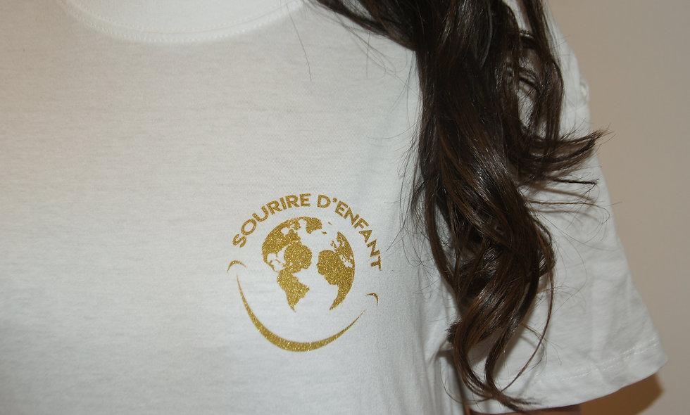 T-shirt Sourire d'enfant Blanc - Logo Gold