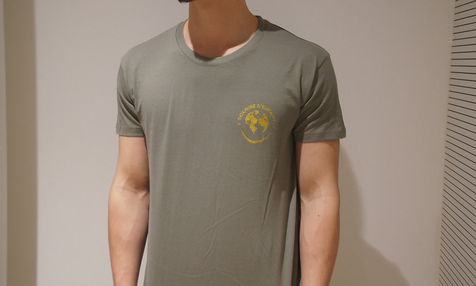 T-shirt Sourire d'enfant Kaki - Logo doré