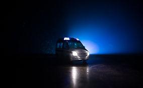 Corona virus concept with Ambulance car.