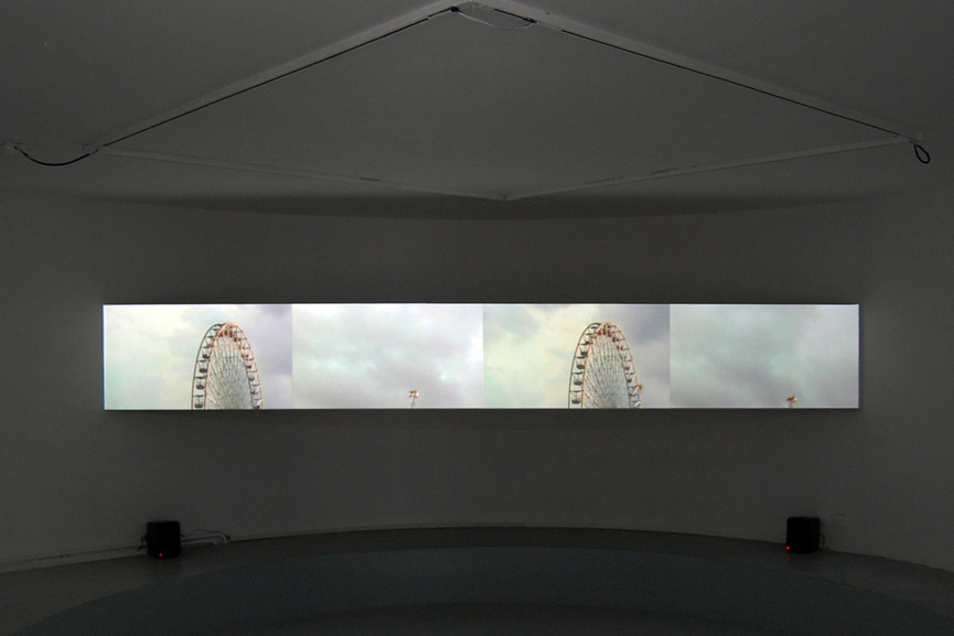2014,  4 channels video installation HD video, 6'14. edition of 3 + 2 AP.  Exhibition view from Lines of Perspective, 1st Biennial Traces in Rhöne-Alpes, L'Arteppes, Contemporary art space, Annecy, 2016.