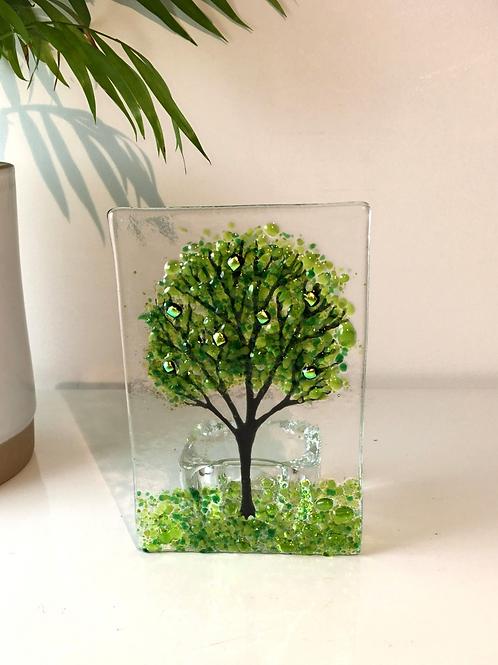 Large Green Tree Tealight Holder