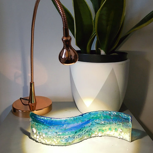 Beach and Sea Fused Glass Wave