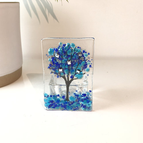 Mini Blue Tree Tealight Holder