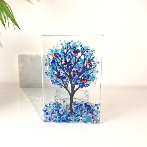 Large Blue Tree Tealight Holder
