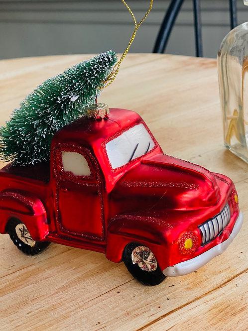 Truck Glass Ornament