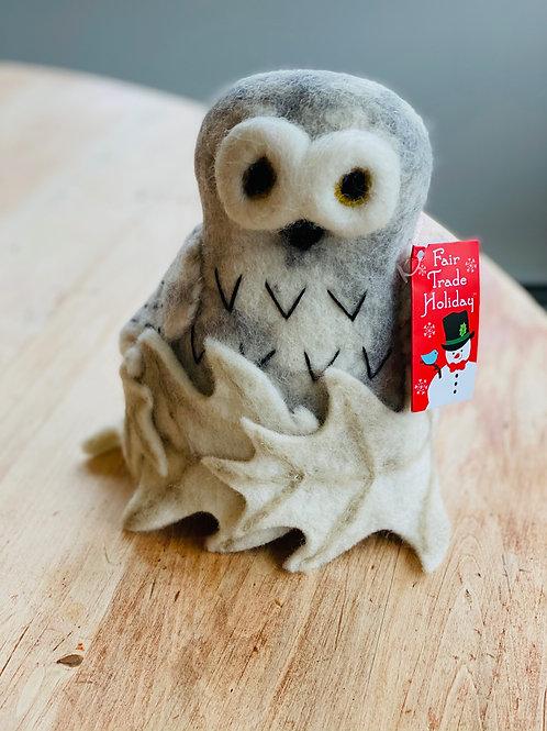 Snowy Owl Felt Tree Topper