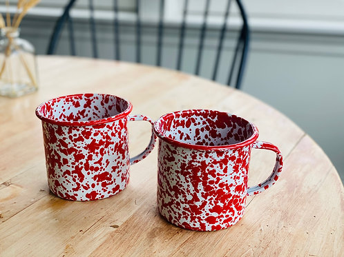 Enamelware Jumbo Mugs - Spatterware