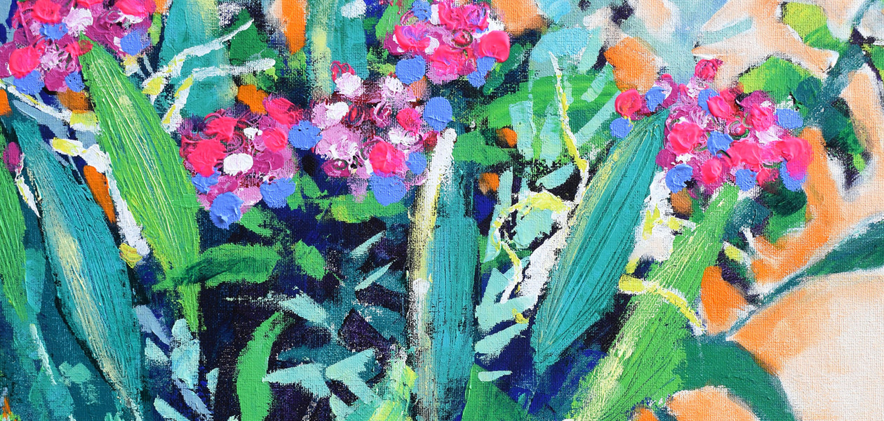 Scraping Through Floral Bouquet II By Artist Cor - Detail