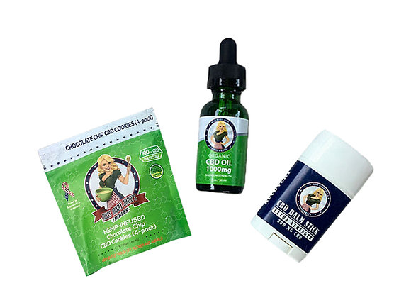 1000MG CBD Oil, 300MG CBD Balm and 100MG CBD Cookie 4-Pack Bundle