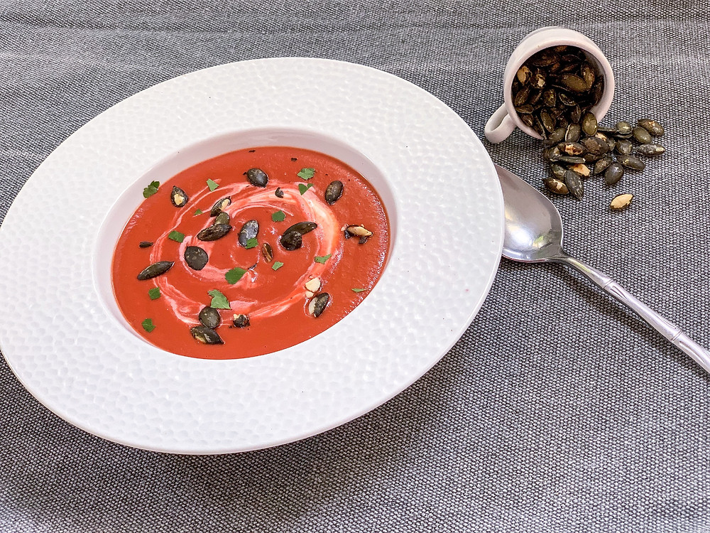 beetroot soup, helenine čarovnije, recipe, recipe, soup recipe, soup, pumpkin seed, kocbek since 1929