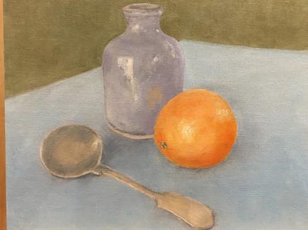 Bottle, orange & spoon