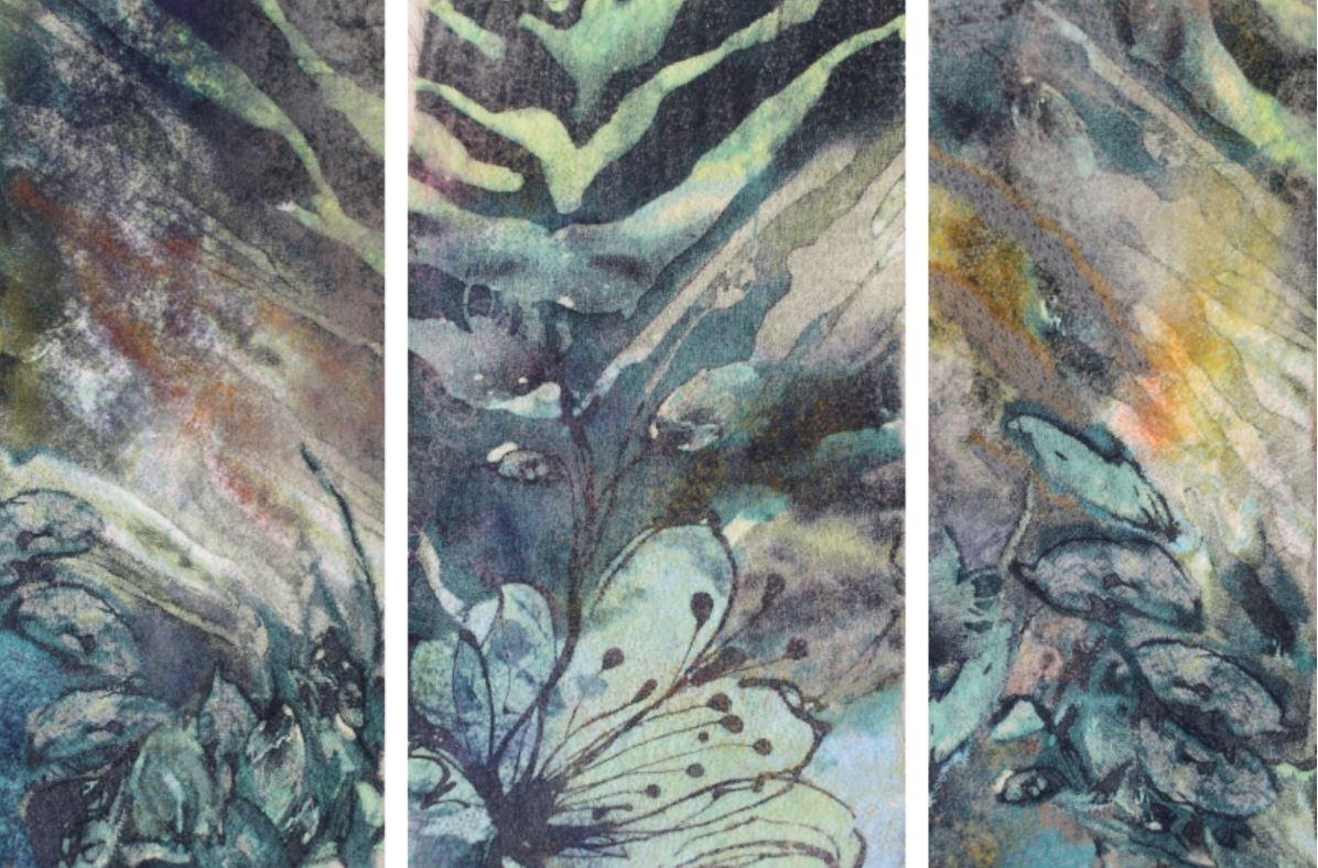 Water Garden II (triptych) by Val Tierne