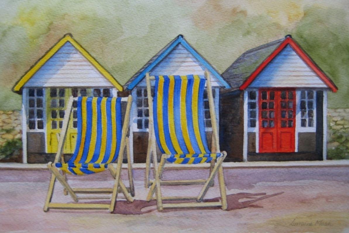 Beach Huts and Deckchairs by Lorraine Ma