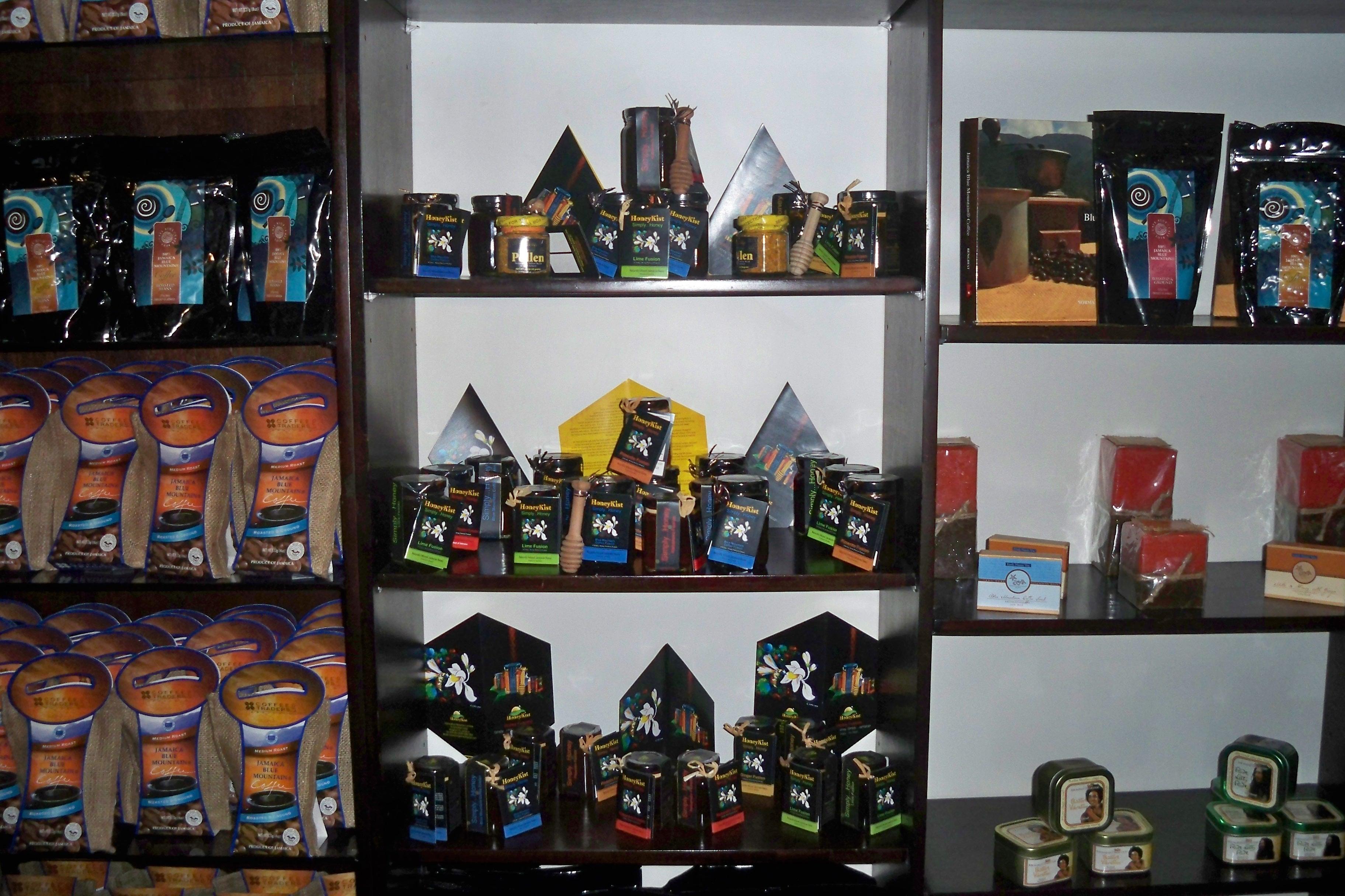 HoneyKist on Cafe Blue shelves.