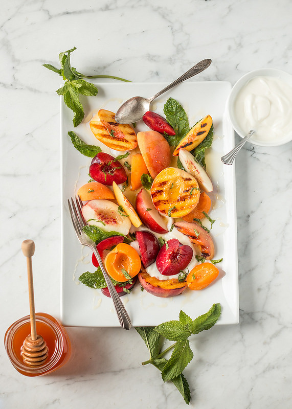 HoneyKist w/ StoneFruit Salad w/ Yogurt and Mint