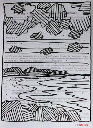 DEPLACEMENT I  posca sur papier 21X29,7 cm  Mars 2020