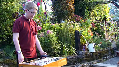 Manning the controls for a garden railway layout