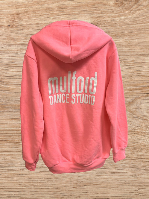 Mulford Dance Zip Up Childs Hoodie-Hot Pink