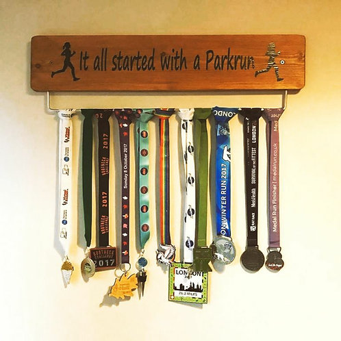 Parkrun Medal Hanger 70cm Oak Stained Lady
