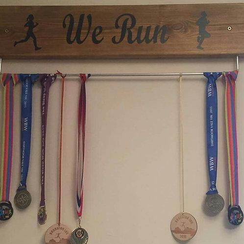 We Run Medal Display Board Oak Stained 70cm