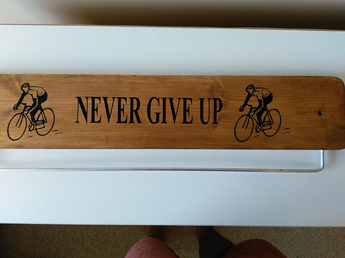 Never Give Up Oak Cycle Medal Display Board 45/70cm