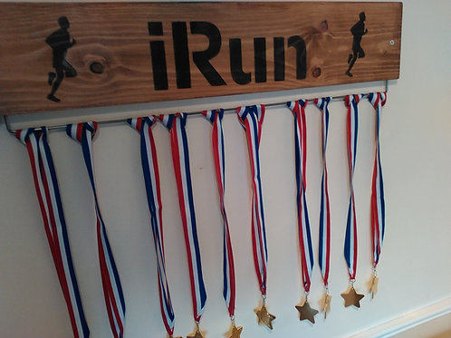 Running Medal Display Board Male Oak Stained (70cm