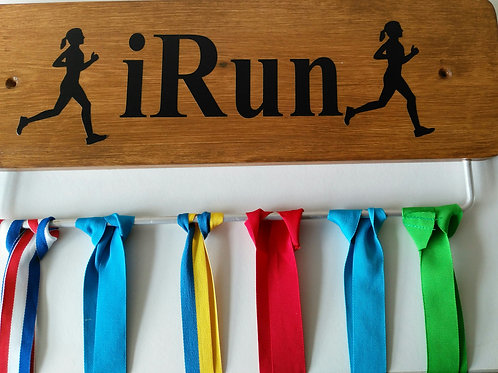 Oak Stained Running Medal Board Male 45cm