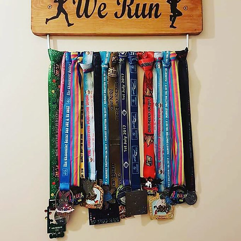 We Run Medal Display Board Oak Stain 45cm