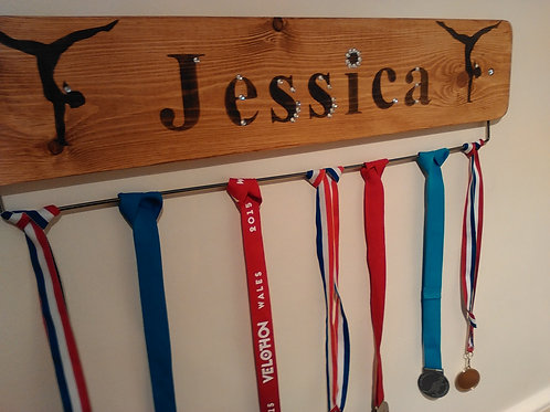 Personalised Gymnastic Medal Board Oak (70