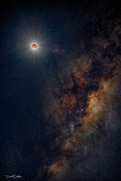 Blood moon and Milky way core