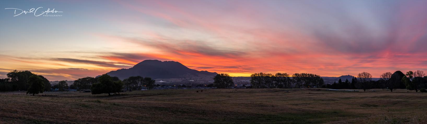 Sunrise glow over MT Tauhara