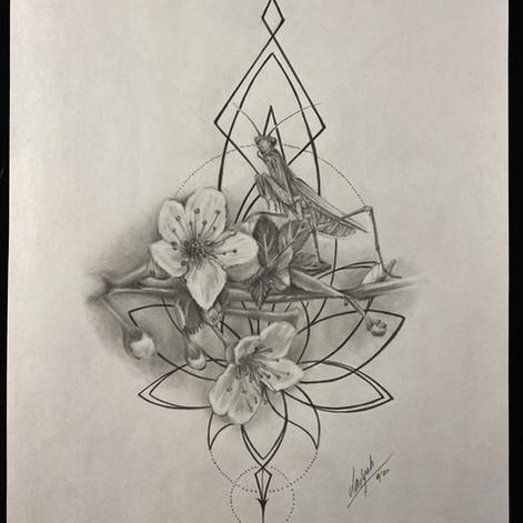 'The Praying Mantis and Cherry Blossom'
