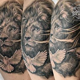 Lion, lamb, dove - realism black and grey tattoo