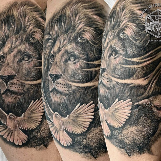 Lion, lamb, dove - realism black and grey tattoo