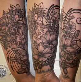 ornamental floral tattoo, book