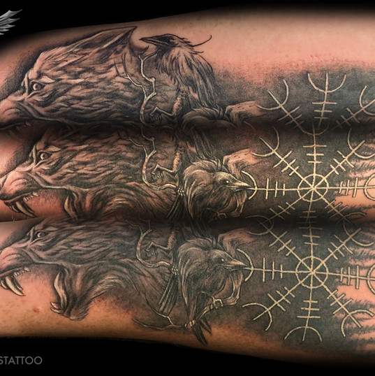 Wolf, Ravens, Norse themed
