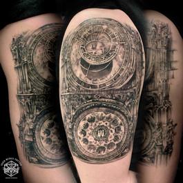 Prague astronomical clocks tattoo