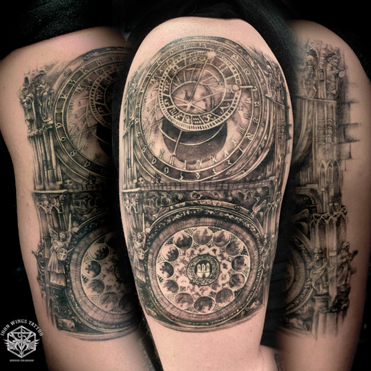Prague astronomical clocks tattoo