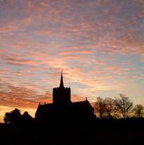 Thriplow church sunrise