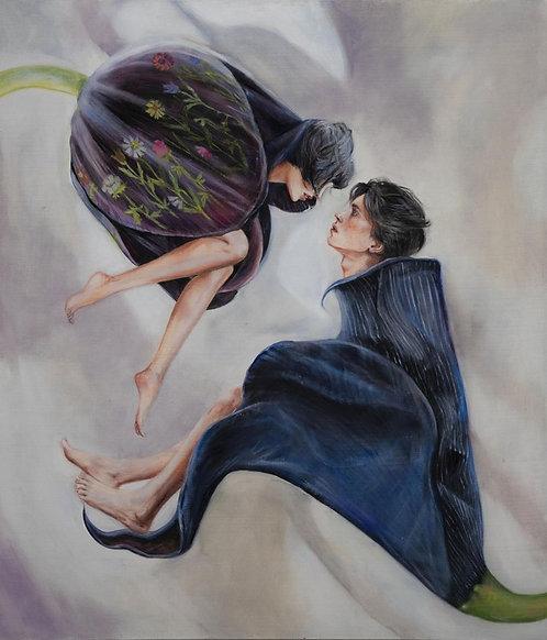 PastelStamen (diptych) by Ellen Sheidlin