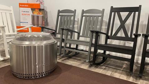 Yukon Solo Stove and Rocking Chairs