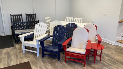 Adirondack Chairs and Dining Set