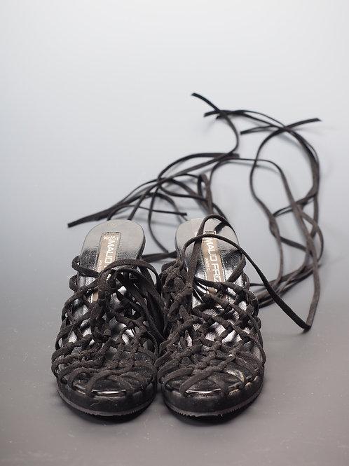 Sandales en veau velours tressé Maud Frizon